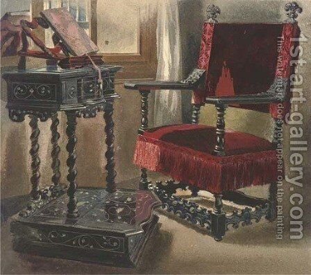 A chair in Edward Cheney's room in the Palazzo Corner Spinelli, Venice by Thomas Hartley Cromek - Reproduction Oil Painting