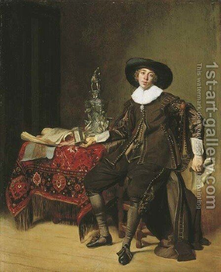 Portrait of a silversmith, thought to be Christian van Vianen by Thomas De Keyser - Reproduction Oil Painting