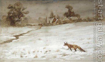 A fox in snow by Thomas Lloyd - Reproduction Oil Painting