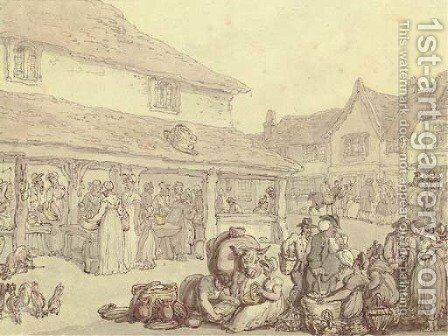 Market day in the village by Thomas Rowlandson - Reproduction Oil Painting