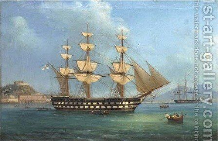H.M.S. Cressy lying at anchor off Naples by de Simone Tommaso - Reproduction Oil Painting