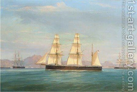 Ironclads of the Mediterranean fleet off the Italian coast by de Simone Tommaso - Reproduction Oil Painting