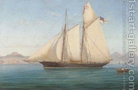 Lord Suffield's yacht Flower of Yarrow in the Bay of Naples by de Simone Tommaso - Reproduction Oil Painting
