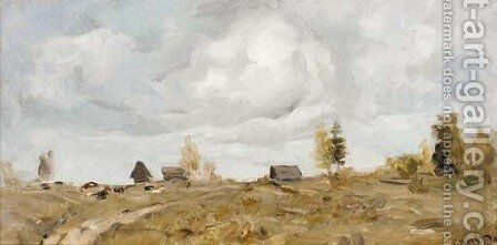 Country Settlement under threatening Clouds by Valentin Aleksandrovich Serov - Reproduction Oil Painting