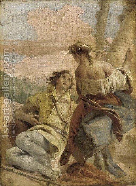Angelica and Medoro by Venetian School - Reproduction Oil Painting
