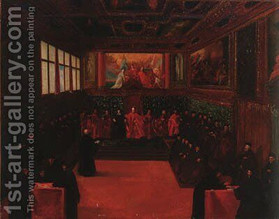The Council chamber of the Doge's palace by Venetian School - Reproduction Oil Painting