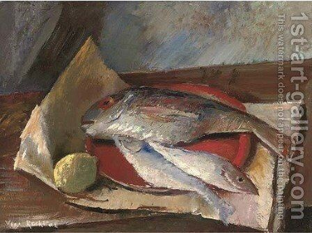 Still life with fish by Vera Rockline - Reproduction Oil Painting