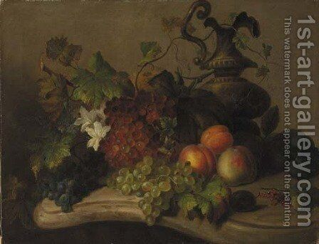 Still life with fruit and flowers on a marble ledge by Virginie de Sartorius - Reproduction Oil Painting