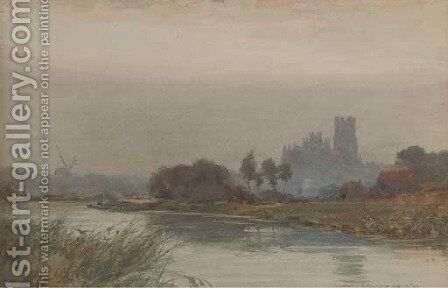 The cathedral at Ely enshrouded in mist by Wilfred Williams Ball - Reproduction Oil Painting