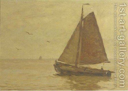 Sailing on open water by Willem Bastiaan Tholen - Reproduction Oil Painting