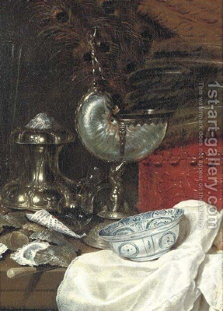 A nautilus cup with a silver salt by Willem Claesz. Heda - Reproduction Oil Painting