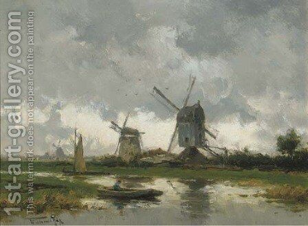 Molens bij Gouda a landscape with windmills by Willem Cornelis Rip - Reproduction Oil Painting