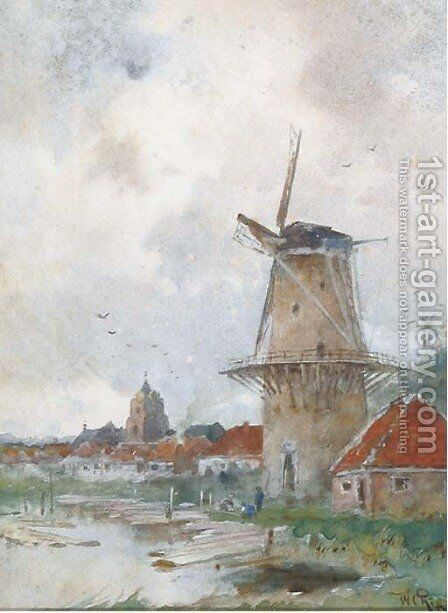 Windmill on the edge of a village by Willem Cornelis Rip - Reproduction Oil Painting