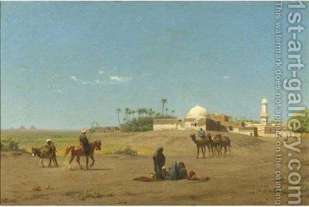 An oasis in Egypt by Willem De Famars Testas - Reproduction Oil Painting