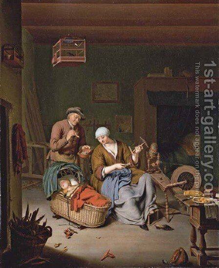 A woman spinning yarn with a baby in a wicker basket and an old man smoking a pipe by Willem van Mieris - Reproduction Oil Painting