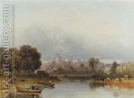 Figures and boats on the Thames below Windsor Castle by William of Eton Evans - Reproduction Oil Painting