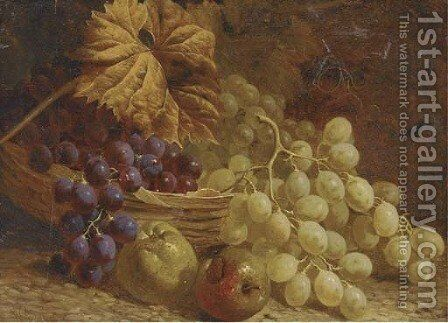 Grapes, apples and a wicker basket by William Hughes - Reproduction Oil Painting