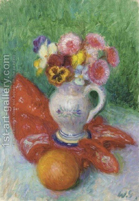 Still Life with Vase of Flowers by William Glackens - Reproduction Oil Painting
