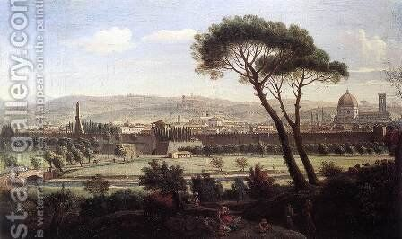 View of Florence from the Via Bolognese c. 1695 by Caspar Andriaans Van Wittel - Reproduction Oil Painting