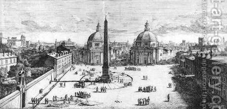 View Of The Piazza Del Popolo Rome 1678 by Caspar Andriaans Van Wittel - Reproduction Oil Painting