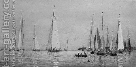 8-meters racing in light airs off Cowes by William Lionel Wyllie - Reproduction Oil Painting