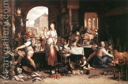 Kitchen Scene 1605 by Joachim Wtewael (Uytewael) - Reproduction Oil Painting