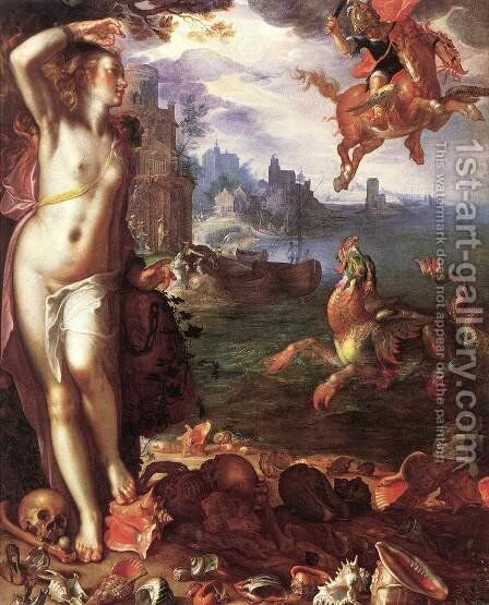 Perseus and Andromeda 1611 by Joachim Wtewael (Uytewael) - Reproduction Oil Painting