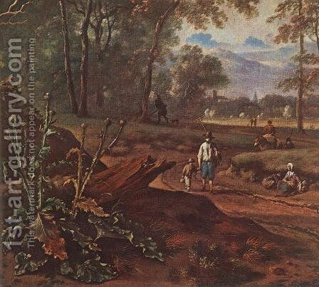 Road Beside The Forest (detail) by Jan Wynants - Reproduction Oil Painting