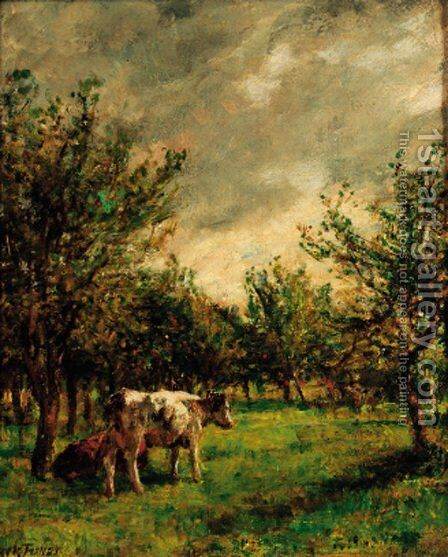 Cattle resting in an orchard by Mark Fisher - Reproduction Oil Painting