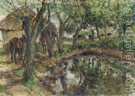 Ponies by a farmyard pond by Mark Fisher - Reproduction Oil Painting