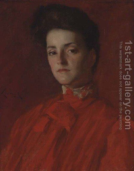 A Lady in Red by William Merritt Chase - Reproduction Oil Painting