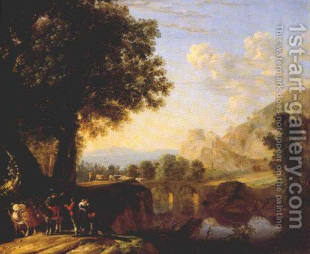 Italian Landscape with Bridge and Castle 1640s by Herman Van Swanevelt - Reproduction Oil Painting