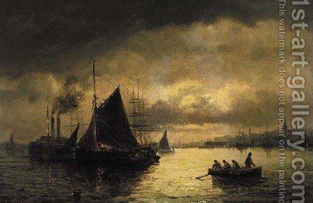 Dawn and dusk on an estuary by William A. Thornley or Thornbery - Reproduction Oil Painting