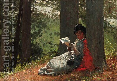 Girl Reading Under an Oak Tree by Winslow Homer - Reproduction Oil Painting