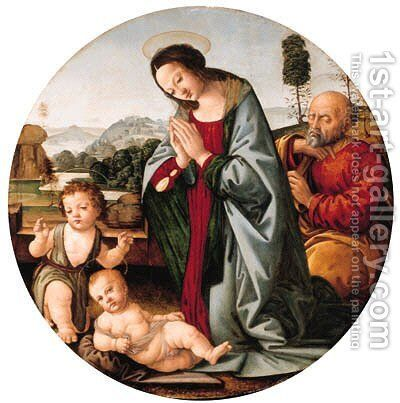The Holy Family with the Infant Saint John the Baptist, a river landscape beyond by (after) Lorenzo Di Credi - Reproduction Oil Painting