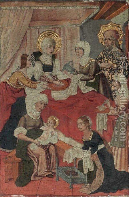 The Birth of the Virgin by (after) Miguel Ximenez Active Saragossa - Reproduction Oil Painting