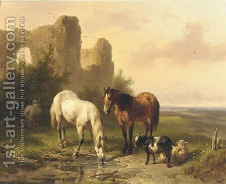 Horses by a ruin in an extensive landscape by Wouterus Verschuur - Reproduction Oil Painting