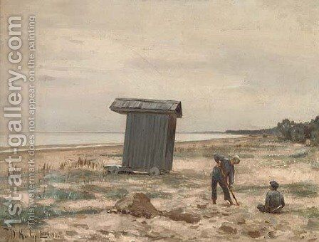 On the beach by Iulii Iul'evich (Julius) Klever - Reproduction Oil Painting