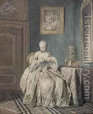 Young Girl Embroidering by Jacobus Buys - Reproduction Oil Painting