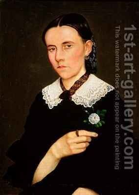 Portrait of a Woman by Hermenegildo Bustos - Reproduction Oil Painting