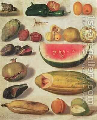 Still Life with Fruit and Toad by Hermenegildo Bustos - Reproduction Oil Painting