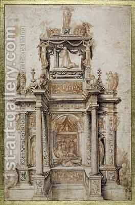 Design for a Funerary Monument for Gaston de Foix, Duke of Nemours 1489-1512 by Agostino, called il Bambaia Busti - Reproduction Oil Painting