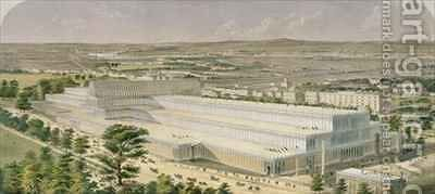 Aeronautic View of the Palace of Industry for All Nations by Charles Burton - Reproduction Oil Painting