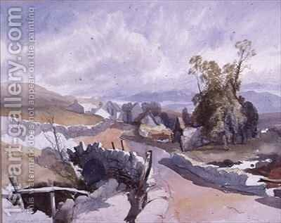 Country Road with Cottages by James Burrell-Smith - Reproduction Oil Painting