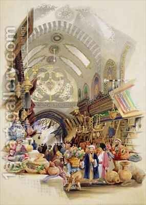 The Missr Tcharsky, or Egyptian Market, in Constantinople by A. Margaretta Burr - Reproduction Oil Painting