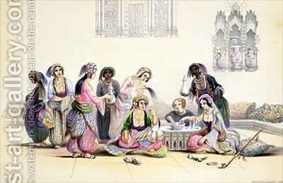 Interior of a Harem, in Cairo by A. Margaretta Burr - Reproduction Oil Painting