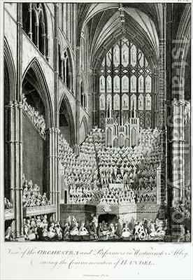 View of the Orchestra and Performers in Westminster Abbey, during the Commemoration of Handel by Edward Francis Burney - Reproduction Oil Painting