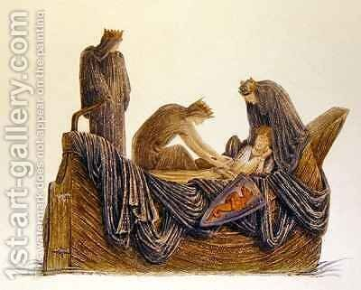 Passing of Arthur by (after) Sir Edward Coley Burne-Jones - Reproduction Oil Painting