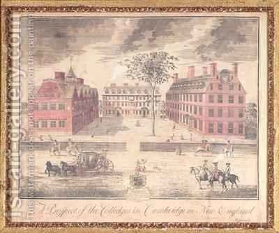 A Prospect of the Colleges in Cambridge in New England by (after) Burgis, William - Reproduction Oil Painting