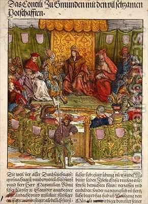 The Council of Gmunden with Important Foreign Visitors by Hans, the elder Burgkmair - Reproduction Oil Painting